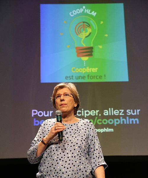 Marie-Noëlle, présidente des Coop'HLM introduit la journée du 23 mai 2017